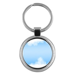 Sky Cloud Blue Texture Key Chains (round)