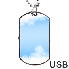 Sky Cloud Blue Texture Dog Tag Usb Flash (two Sides) by Nexatart