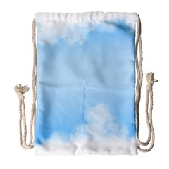 Sky Cloud Blue Texture Drawstring Bag (large)