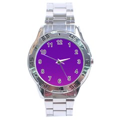 Halftone Background Pattern Purple Stainless Steel Analogue Watch