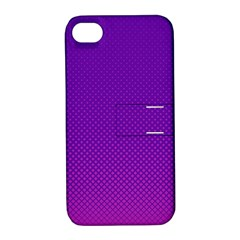 Halftone Background Pattern Purple Apple Iphone 4/4s Hardshell Case With Stand