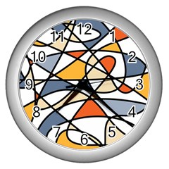 Abstract Background Abstract Wall Clocks (silver)