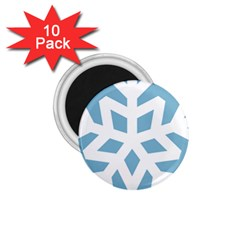 Snowflake Snow Flake White Winter 1 75  Magnets (10 Pack)  by Nexatart
