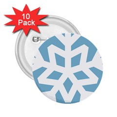Snowflake Snow Flake White Winter 2 25  Buttons (10 Pack)  by Nexatart