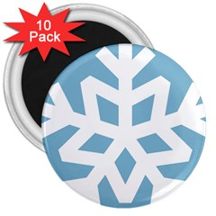 Snowflake Snow Flake White Winter 3  Magnets (10 Pack)  by Nexatart