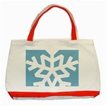 Snowflake Snow Flake White Winter Classic Tote Bag (Red) Front