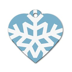 Snowflake Snow Flake White Winter Dog Tag Heart (one Side)