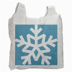 Snowflake Snow Flake White Winter Recycle Bag (one Side)