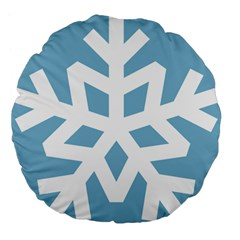 Snowflake Snow Flake White Winter Large 18  Premium Flano Round Cushions by Nexatart