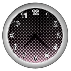 Halftone Background Pattern Black Wall Clocks (silver)  by Nexatart