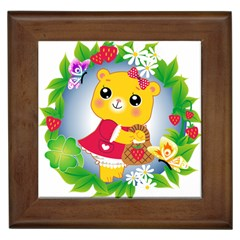 Bear Strawberries Framed Tiles by Nexatart