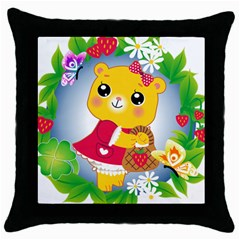 Bear Strawberries Throw Pillow Case (black) by Nexatart