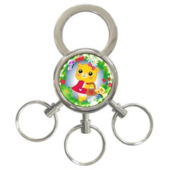Bear Strawberries 3 Ring Key Chains by Nexatart