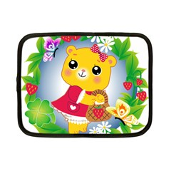 Bear Strawberries Netbook Case (small)  by Nexatart