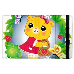 Bear Strawberries Apple Ipad 2 Flip Case by Nexatart