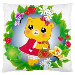 Bear Strawberries Large Flano Cushion Case (two Sides) by Nexatart