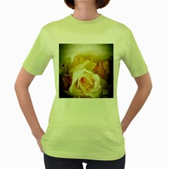 Roses Vintage Playful Romantic Women s Green T Shirt
