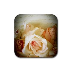 Roses Vintage Playful Romantic Rubber Square Coaster (4 Pack)
