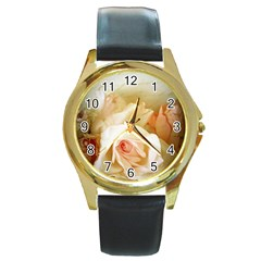 Roses Vintage Playful Romantic Round Gold Metal Watch by Nexatart