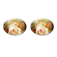 Roses Vintage Playful Romantic Cufflinks (oval) by Nexatart