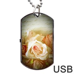 Roses Vintage Playful Romantic Dog Tag Usb Flash (two Sides)