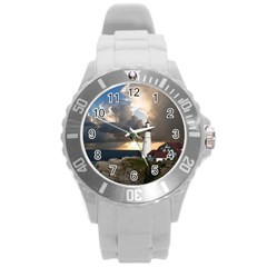 Lighthouse Beacon Light House Round Plastic Sport Watch (l)