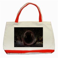Black Hole Blue Space Galaxy Star Classic Tote Bag (red) by Mariart
