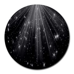 Black Rays Light Stars Space Round Mousepads by Mariart
