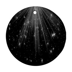 Black Rays Light Stars Space Ornament (round) by Mariart
