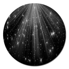 Black Rays Light Stars Space Magnet 5  (round) by Mariart