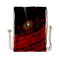 Black Red Space Hole Drawstring Bag (small) by Mariart