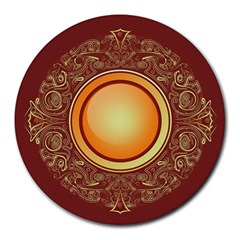 Badge Gilding Sun Red Oriental Round Mousepads by Nexatart