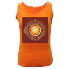 Badge Gilding Sun Red Oriental Women s Dark Tank Top by Nexatart