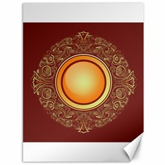 Badge Gilding Sun Red Oriental Canvas 36  X 48   by Nexatart
