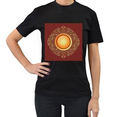 Badge Gilding Sun Red Oriental Women s T Shirt (black) by Nexatart