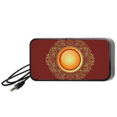 Badge Gilding Sun Red Oriental Portable Speaker (black) by Nexatart