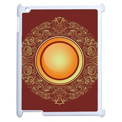 Badge Gilding Sun Red Oriental Apple Ipad 2 Case (white) by Nexatart