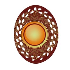 Badge Gilding Sun Red Oriental Oval Filigree Ornament (two Sides) by Nexatart