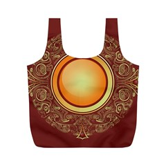 Badge Gilding Sun Red Oriental Full Print Recycle Bags (m)
