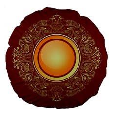 Badge Gilding Sun Red Oriental Large 18  Premium Flano Round Cushions by Nexatart