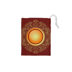 Badge Gilding Sun Red Oriental Drawstring Pouches (xs)  by Nexatart