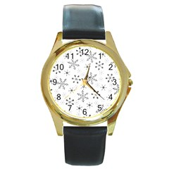 Black Holiday Snowflakes Round Gold Metal Watch