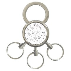 Black Holiday Snowflakes 3 Ring Key Chains