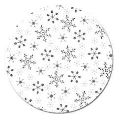 Black Holiday Snowflakes Magnet 5  (round)