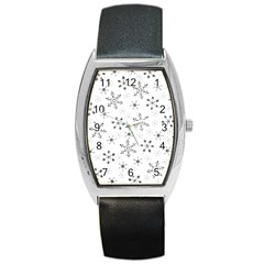 Black Holiday Snowflakes Barrel Style Metal Watch