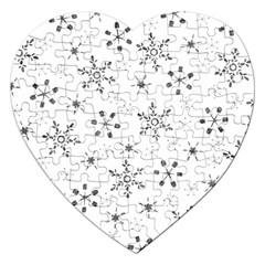 Black Holiday Snowflakes Jigsaw Puzzle (heart)