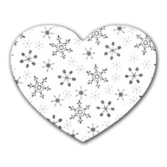 Black Holiday Snowflakes Heart Mousepads by Mariart