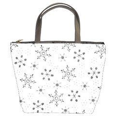 Black Holiday Snowflakes Bucket Bags by Mariart