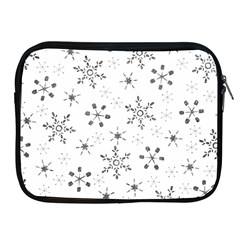 Black Holiday Snowflakes Apple Ipad 2/3/4 Zipper Cases by Mariart