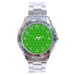 Abstract Art Circles Swirls Stars Stainless Steel Analogue Watch